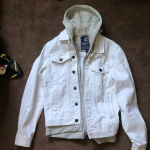 A white jean jacket with hood size men's small